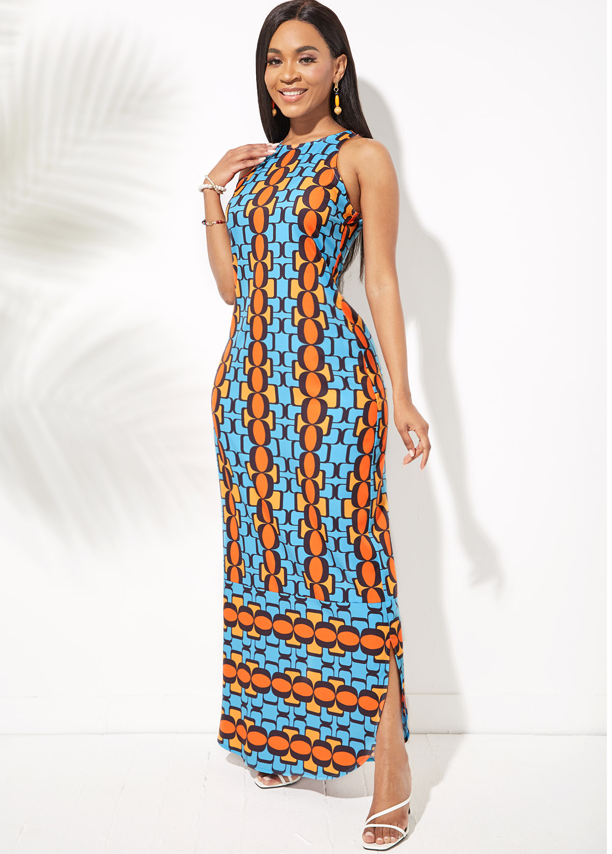 Side Slit Geometric Print Round Neck Dress