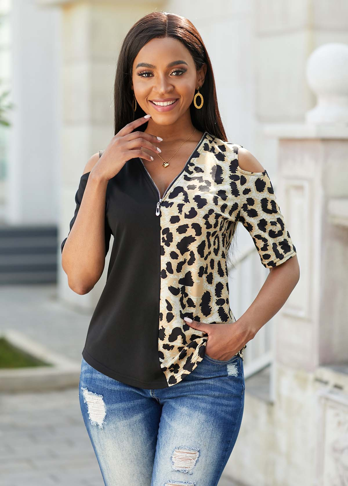 Cold Shoulder Leopard Quarter Zip T Shirt