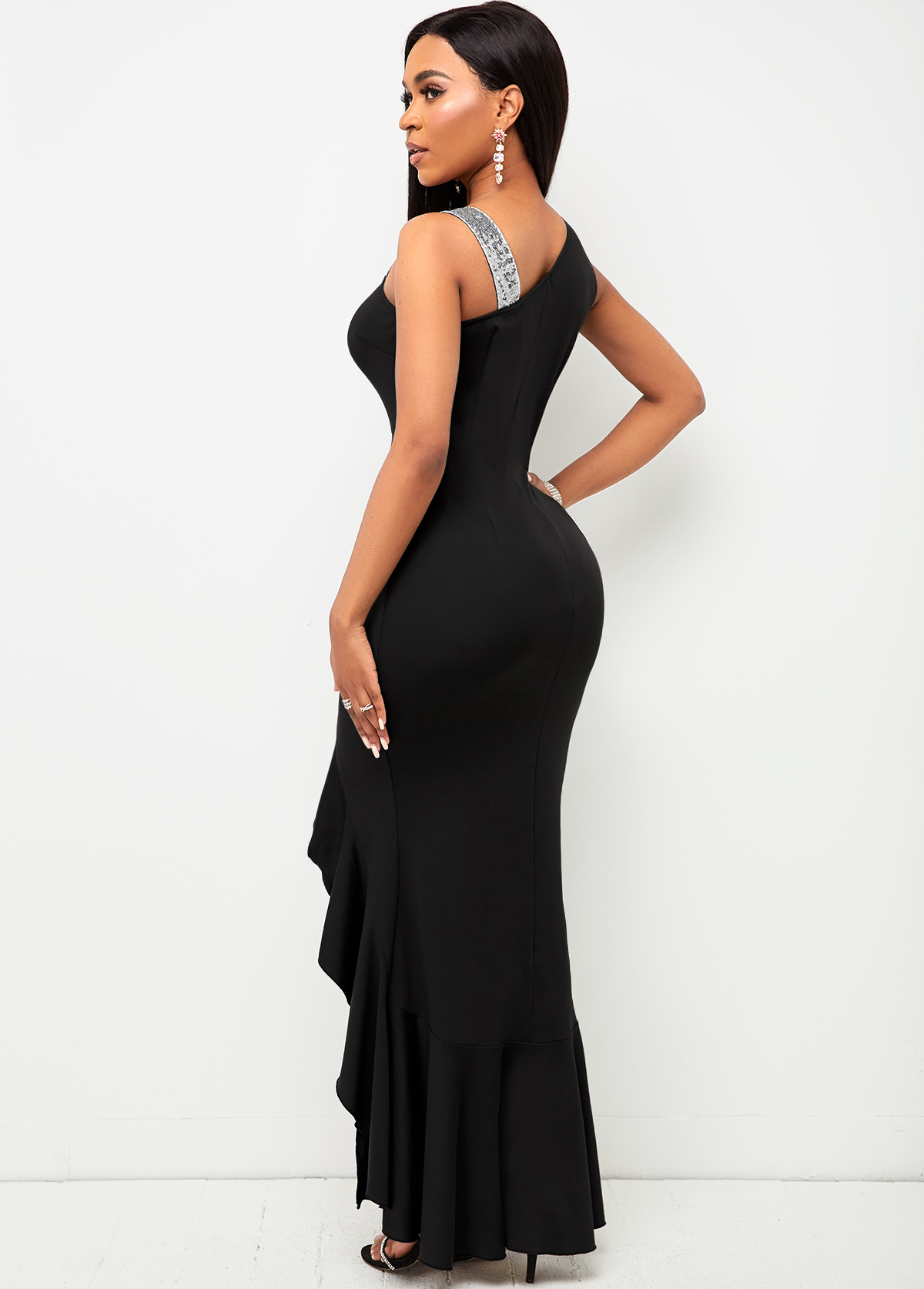 Mermaid Hem Sequin Contrast Sleeveless Maxi Dress