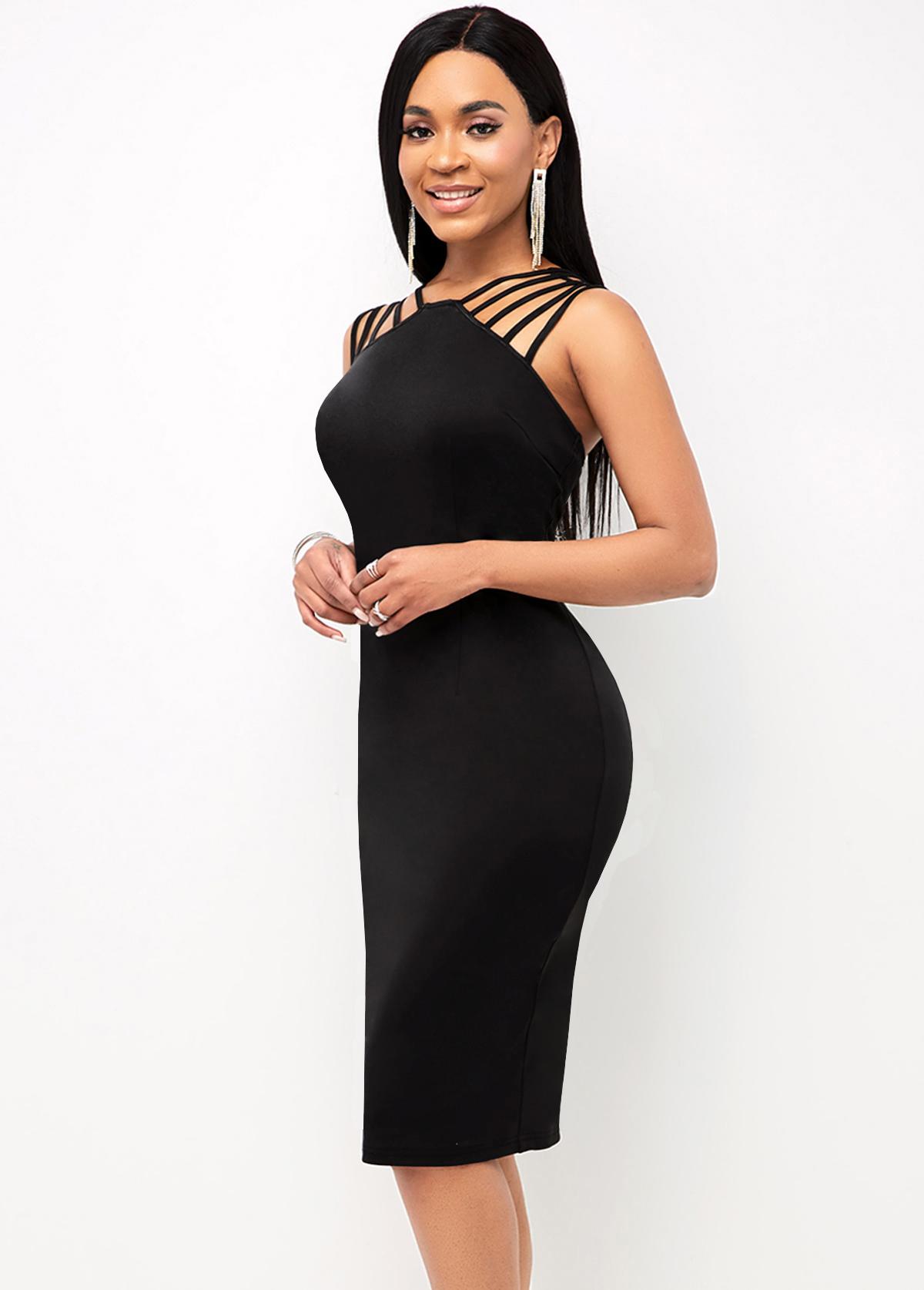 Open Back Spaghetti Strap Solid Dress