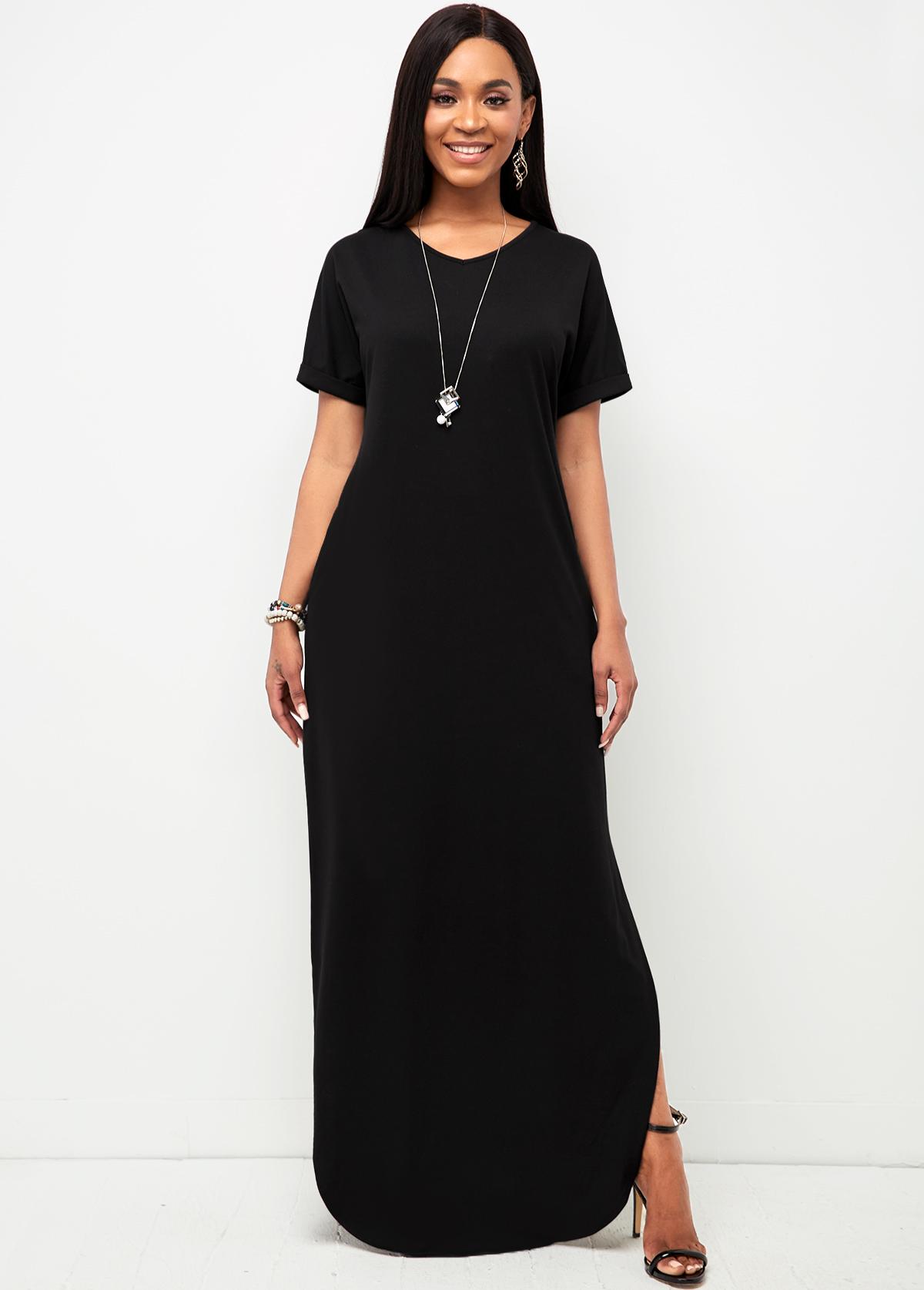 Pocket V Neck Black Casual Dress