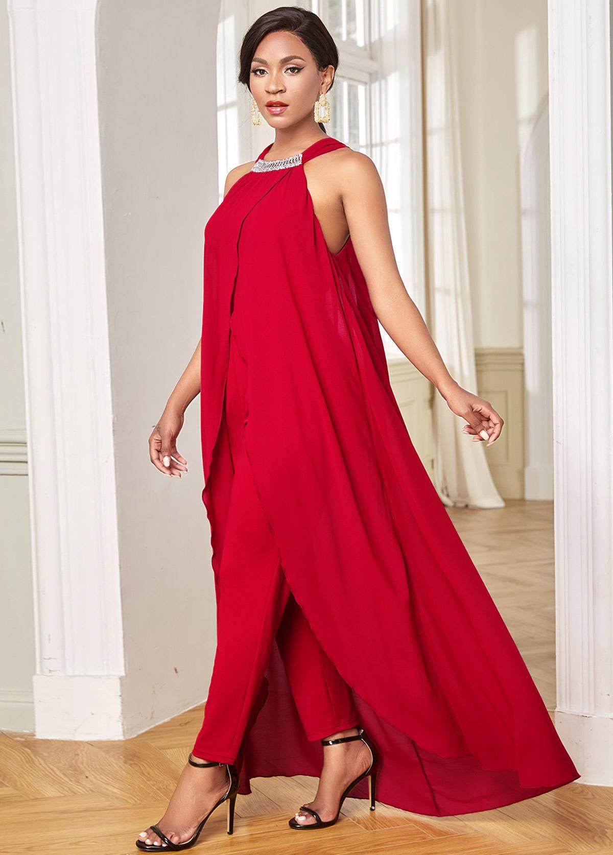 Overlay Embellished Neck Chiffon Sleeveless Jumpsuit
