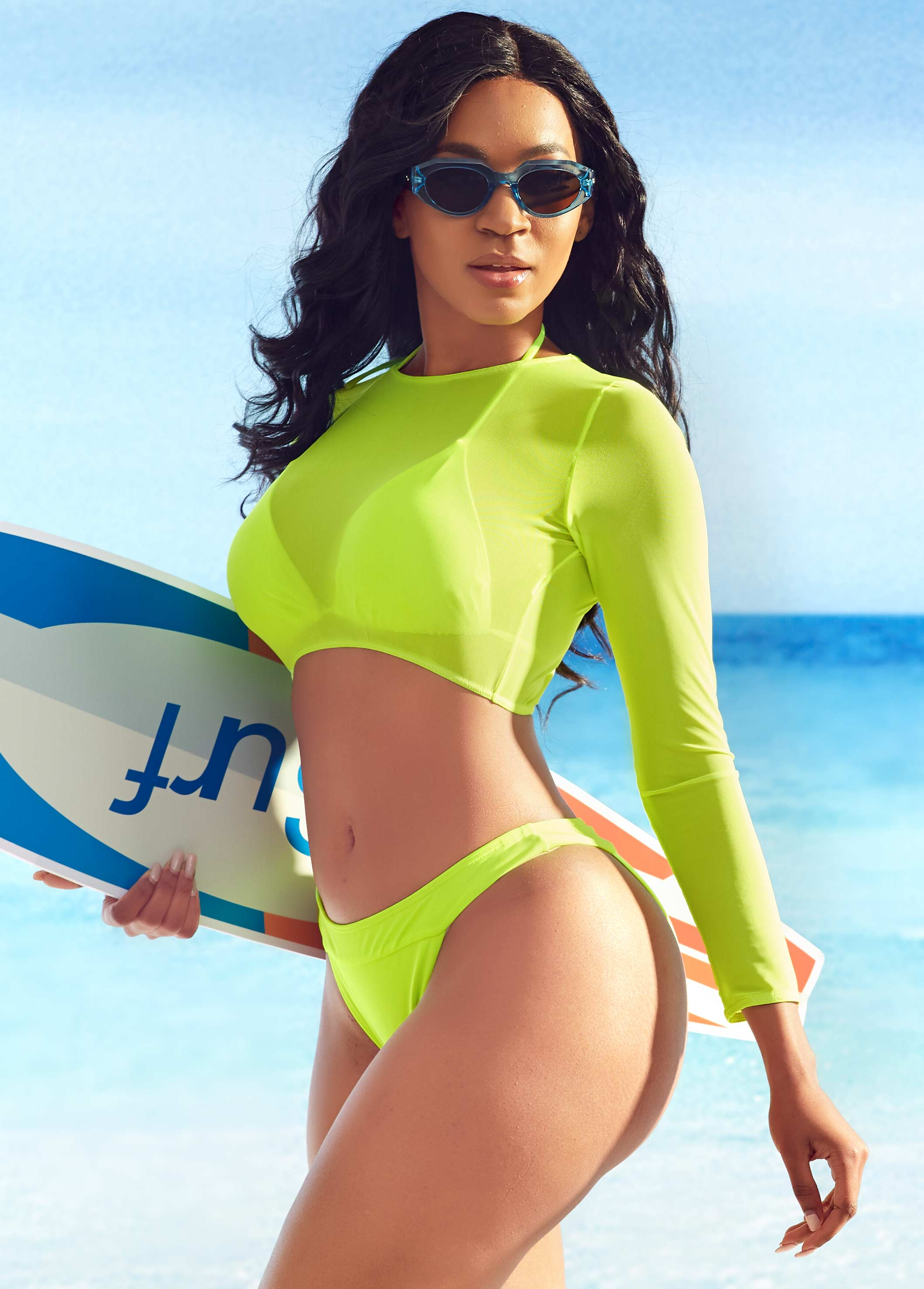 Neon Green Three Piece Swimwear Suit
