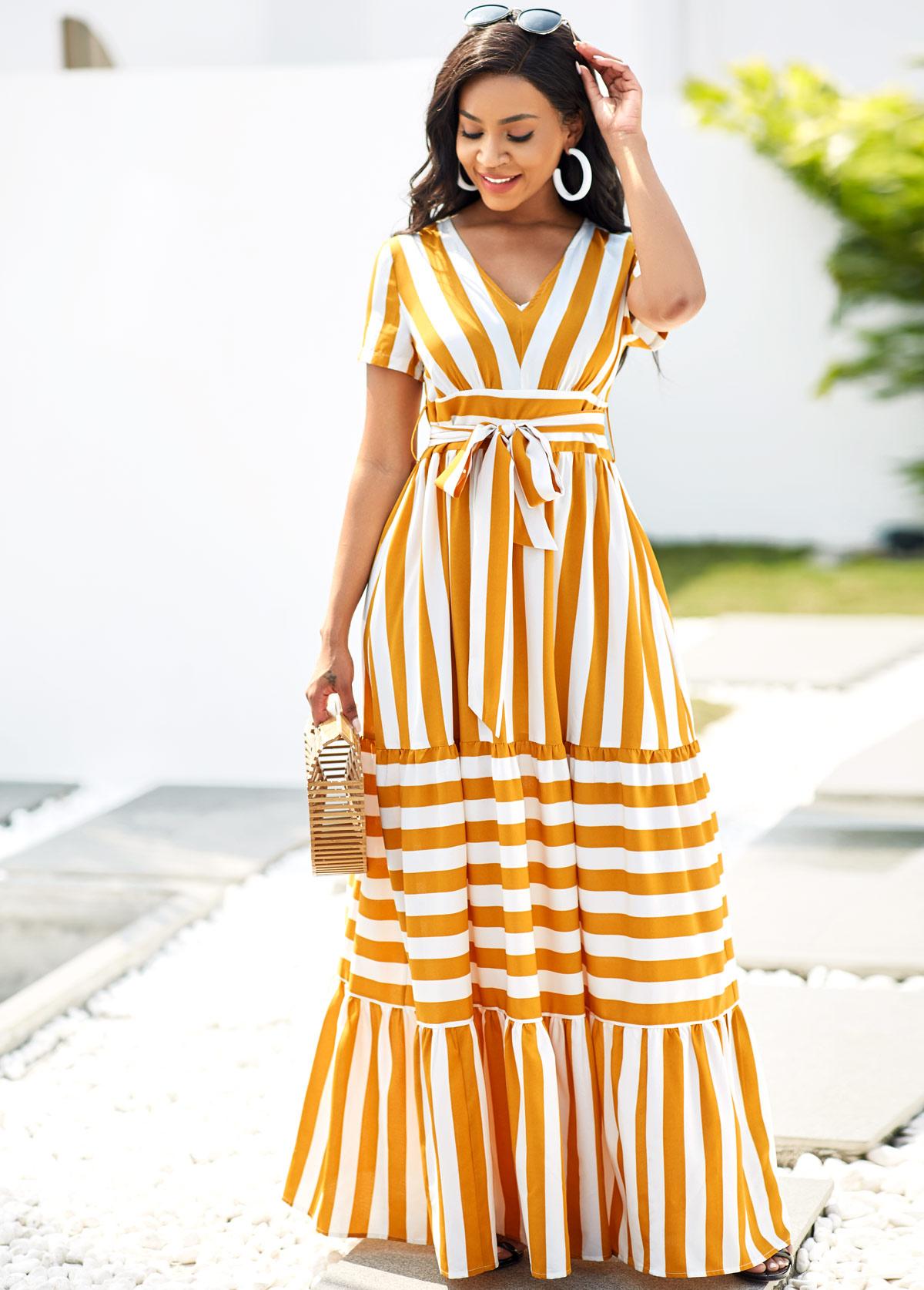Short Sleeve Striped V Neck Belted Dress
