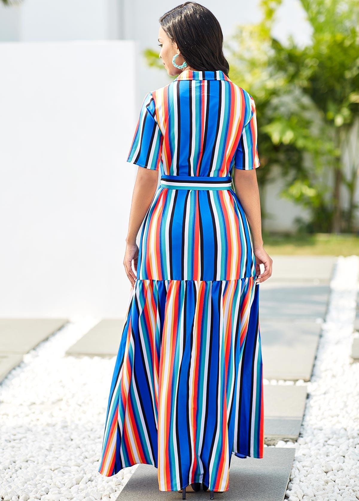 Button Detail Rainbow Stripe Turndown Collar Maxi Dress