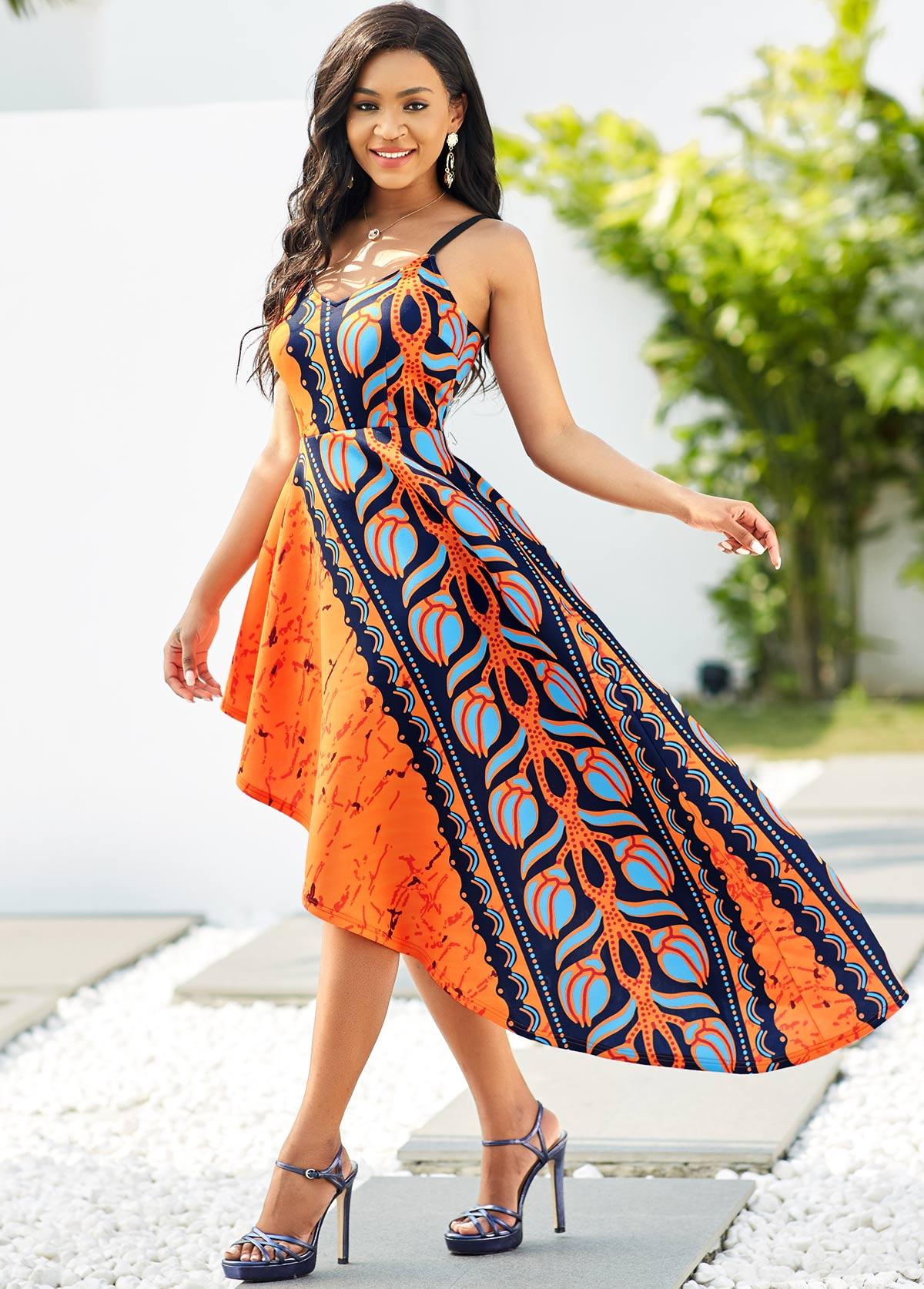 Asymmetric Hem Spaghetti Strap Tribal Print Dress