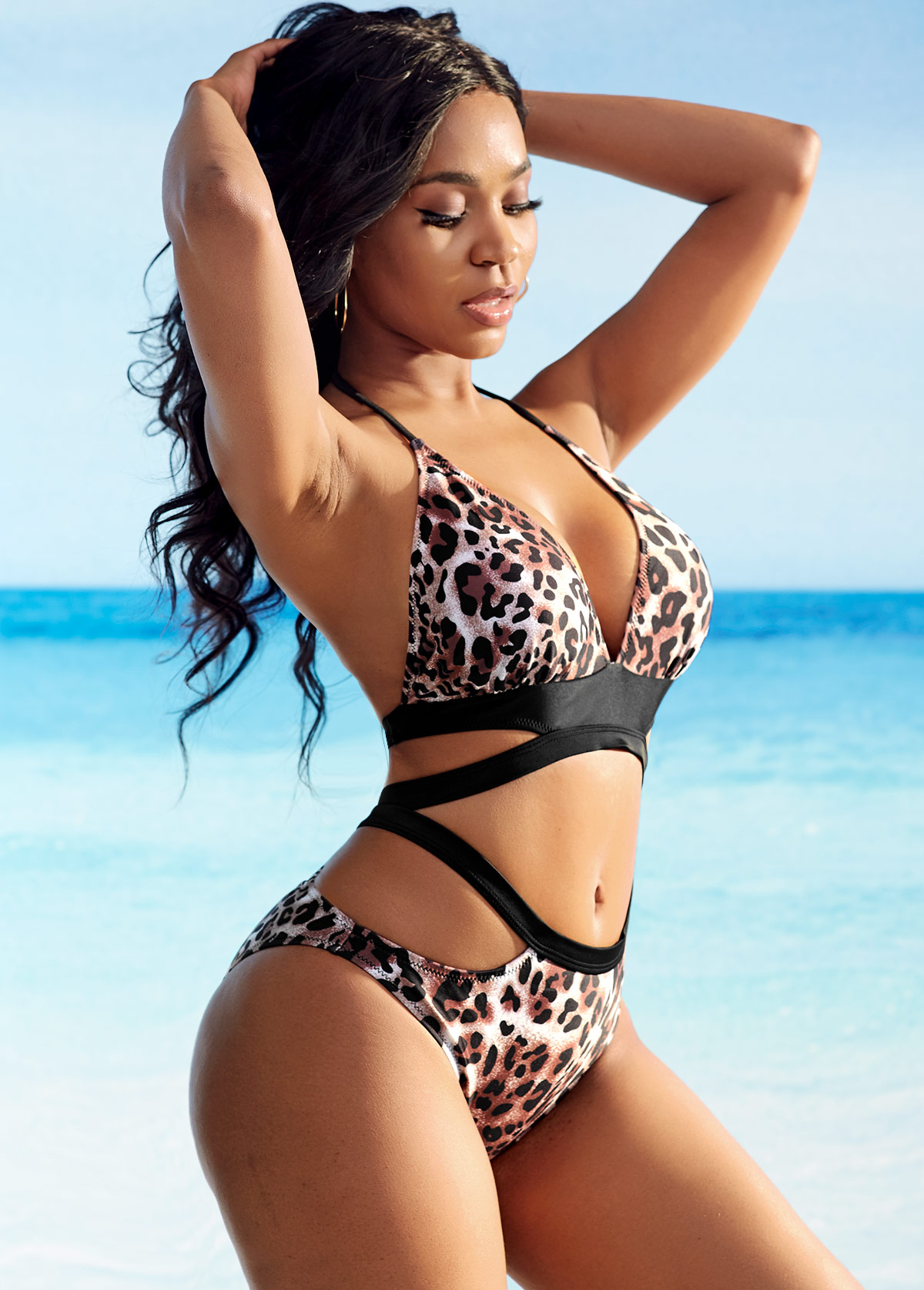 Leopard Cutout Detail Halter Bikini Set