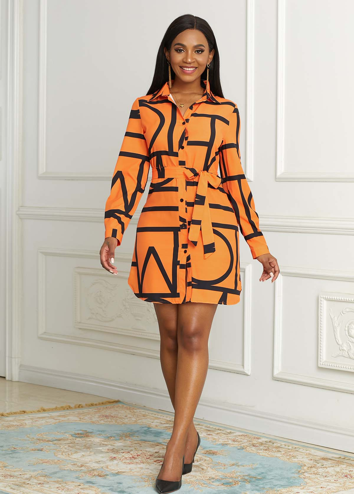Button Up Belted Geometric Print Dress