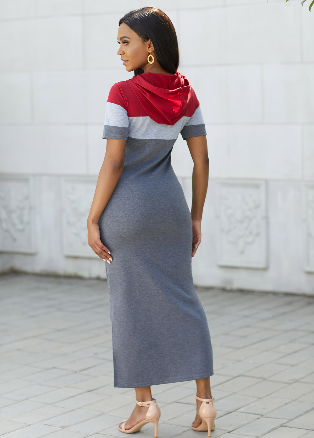 Hooded Collar Contrast Drawstring Maxi Dress