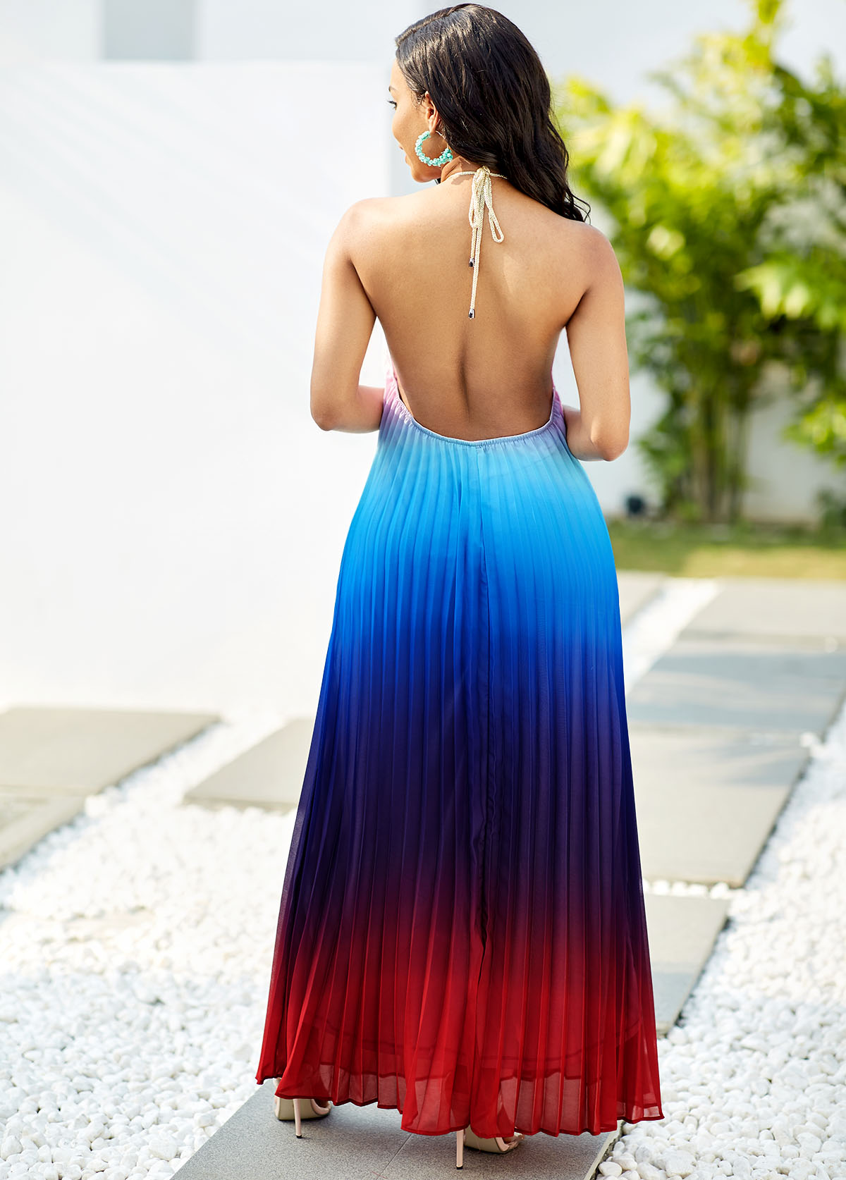 Halter Blue Ombre Pleated Maxi Dress