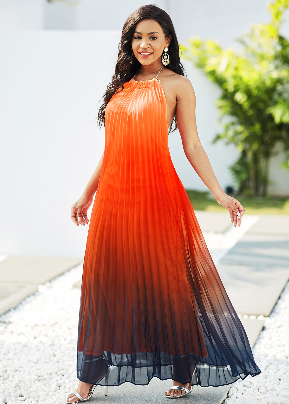 Halter Red Ombre Pleated Maxi Dress