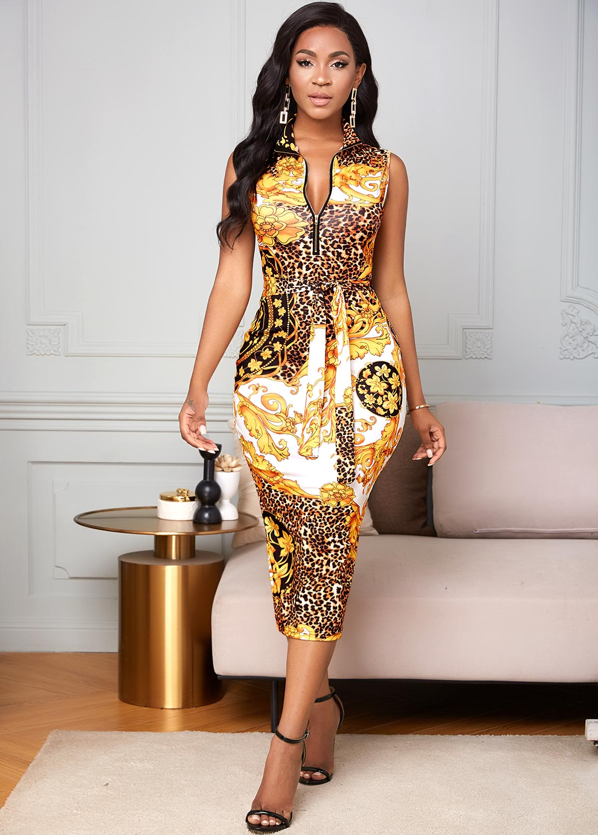 Zipper Detail Sleeveless Baroque Print Bodycon Dress