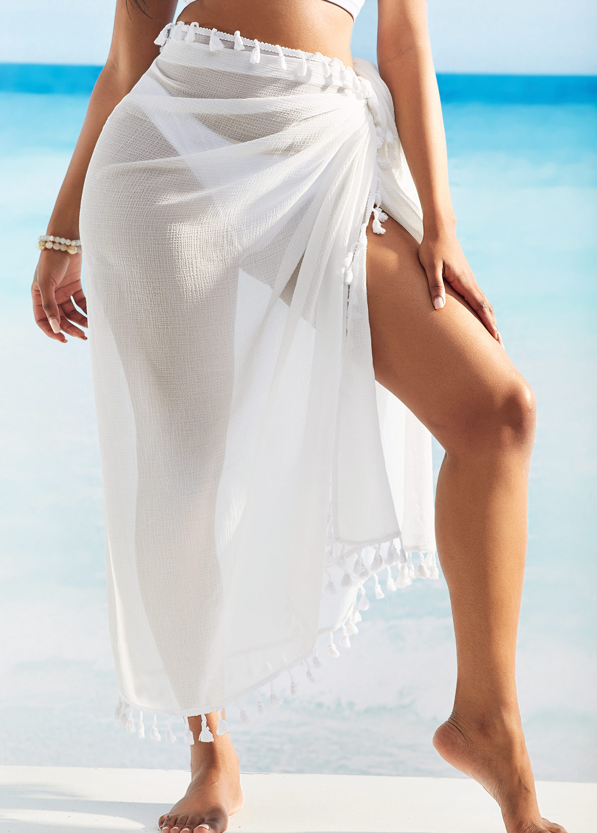 Tassel Detail White Multi Wear Cover Up