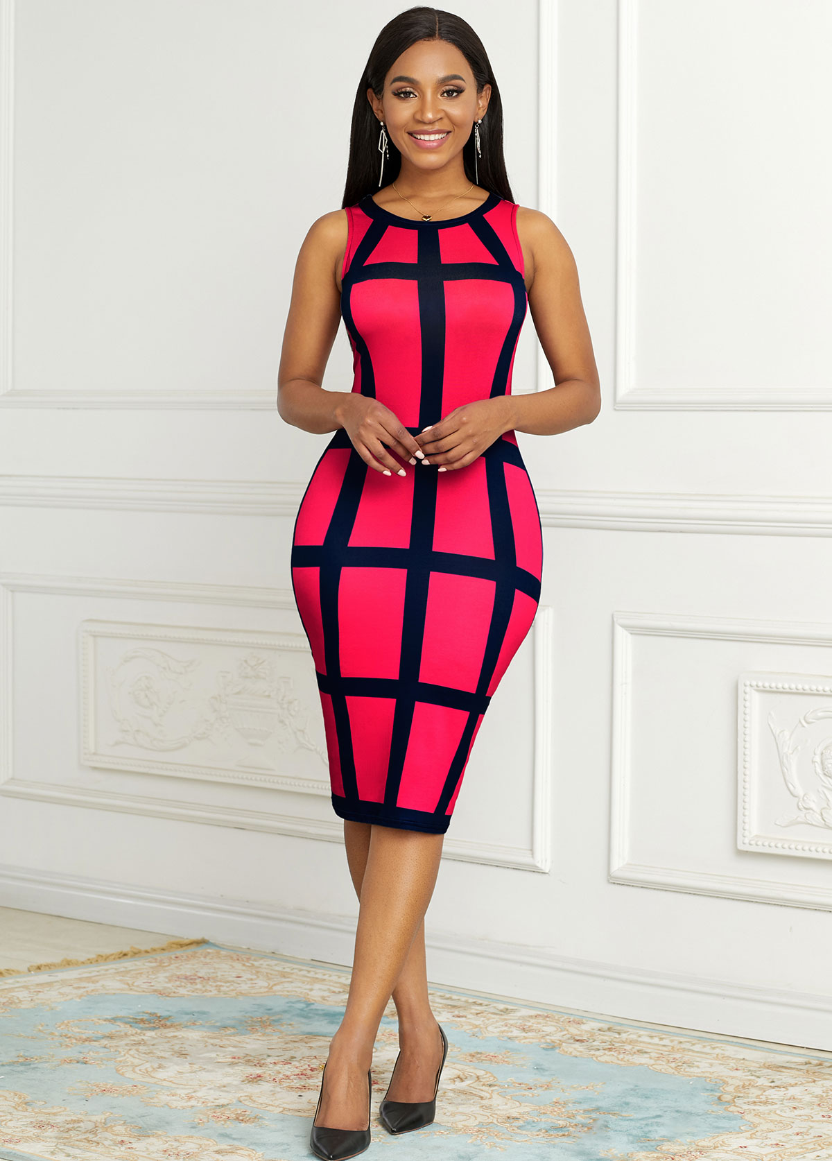 Sleeveless Plaid Round Neck Bodycon Dress
