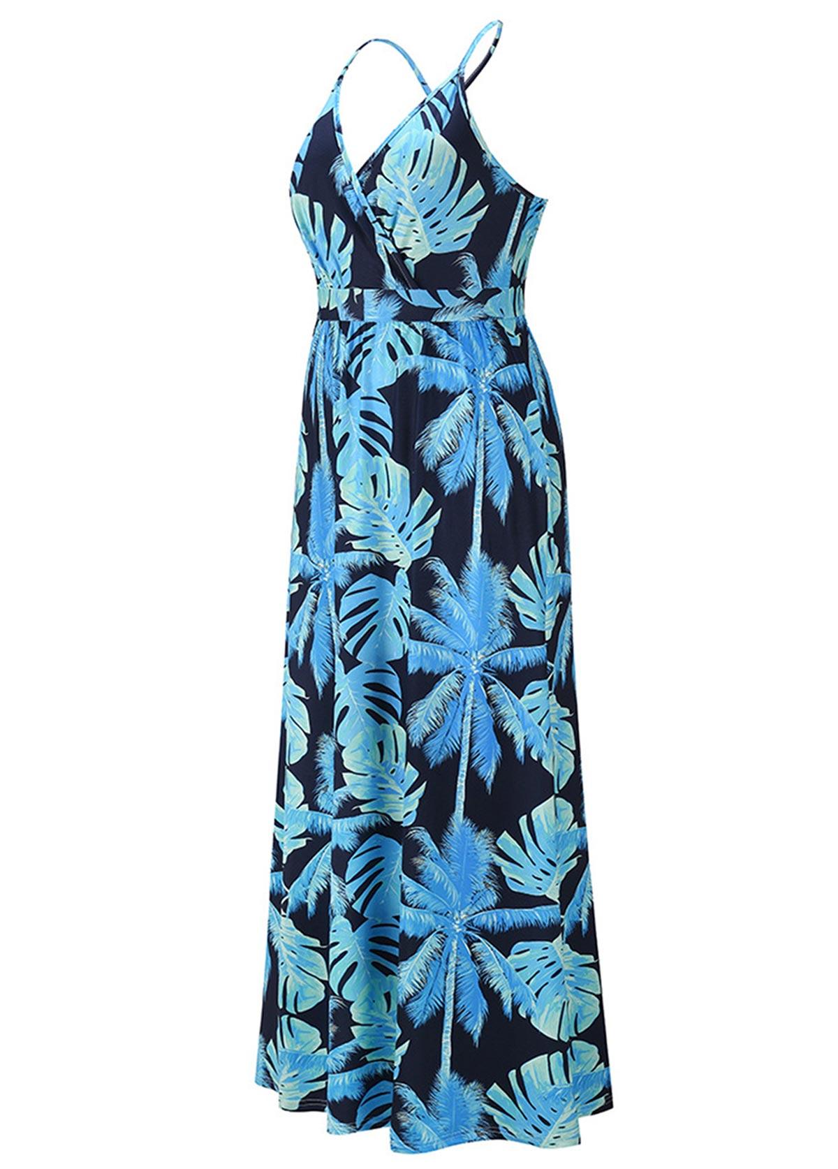 Pocket Leaf Print Spaghetti Strap Maxi Dress