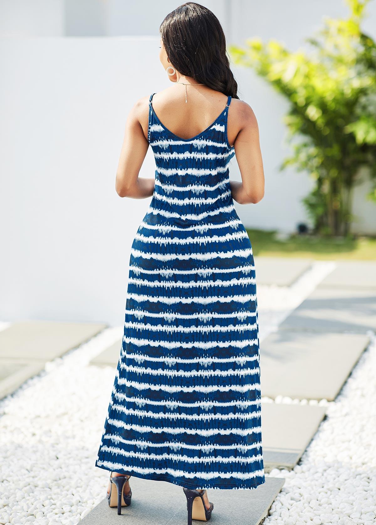 V Neck Striped Spaghetti Strap Maxi Dress