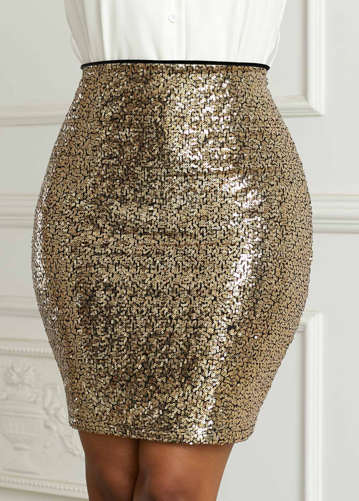 Sequin Lined High Waist Mini Skirt