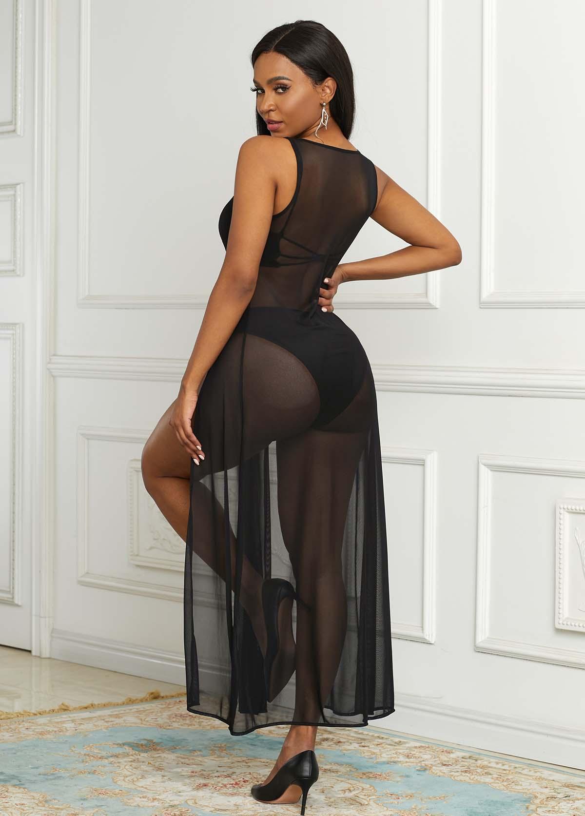 High Slit Semi Sheer Mesh Dress