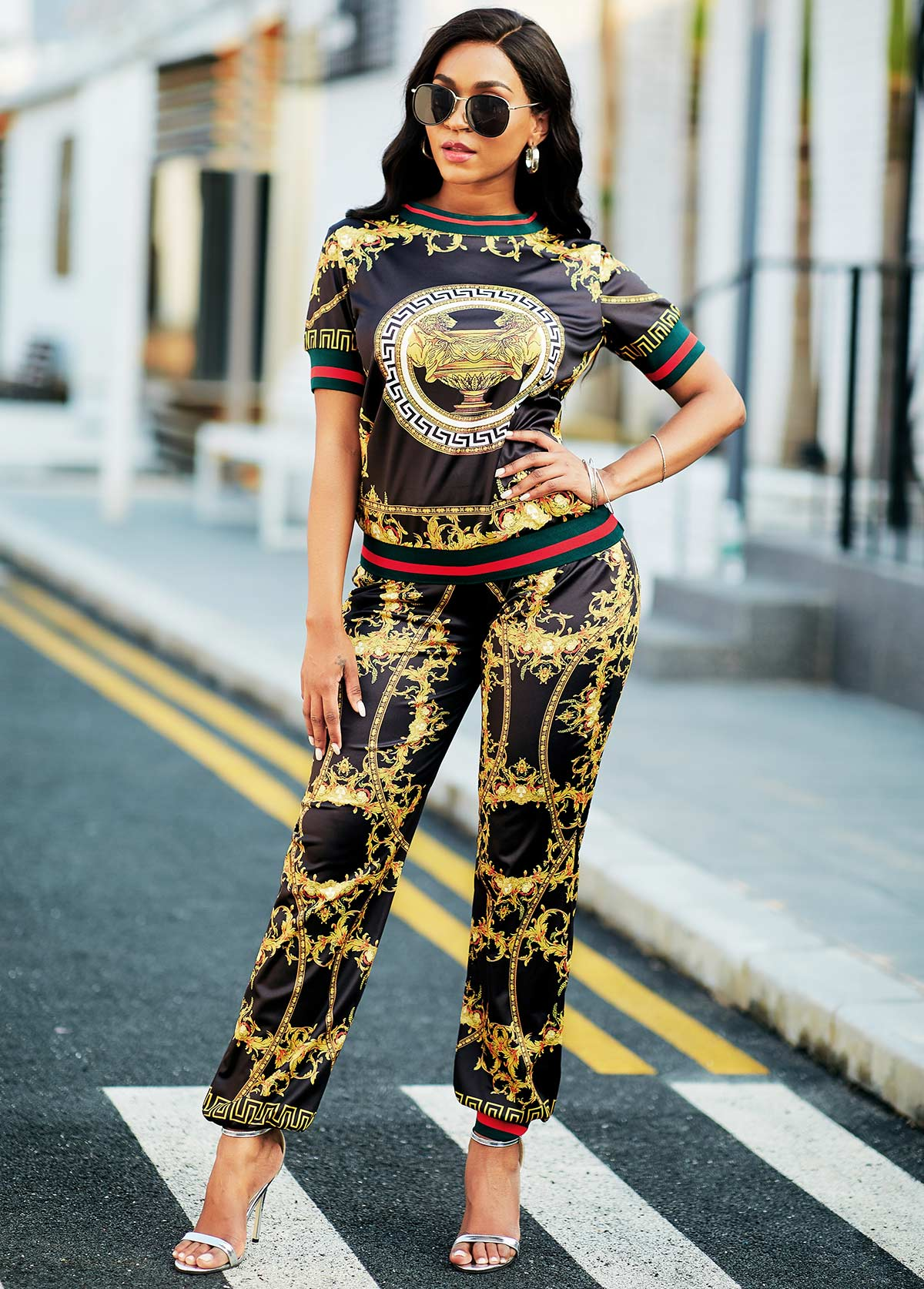Baroque Print Round Neck Top and Pants