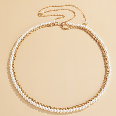 Pearl Detail Gold Layered Body Chain