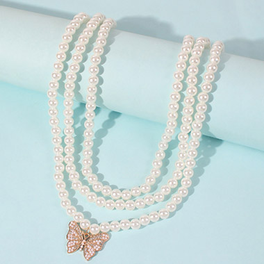 Butterfly Design Layered Pearl Detail Necklace