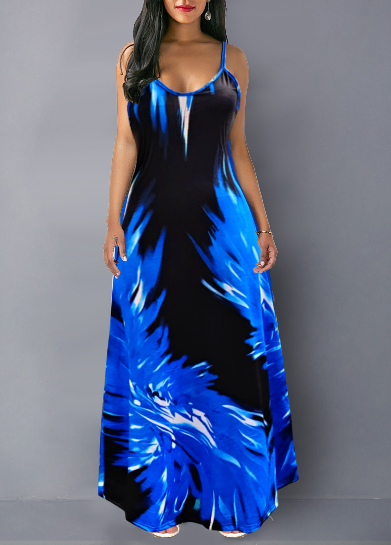 Spaghetti Strap Flame Print Maxi Dress