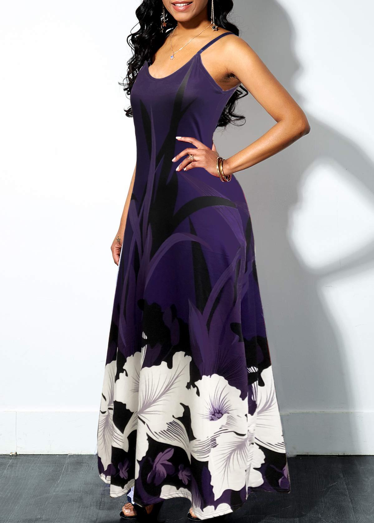 Spaghetti Strap Floral Print Swing Dress