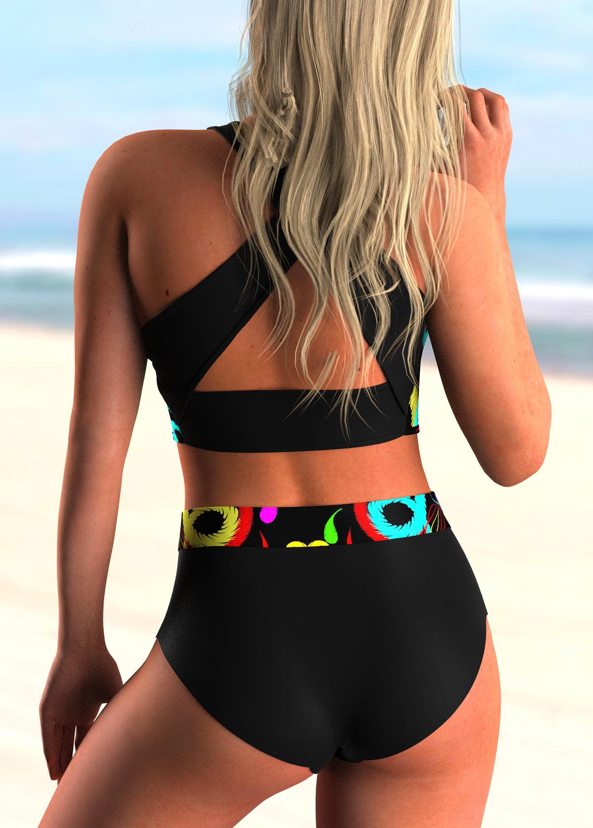High Waisted Printed Bowknot Bikini Set