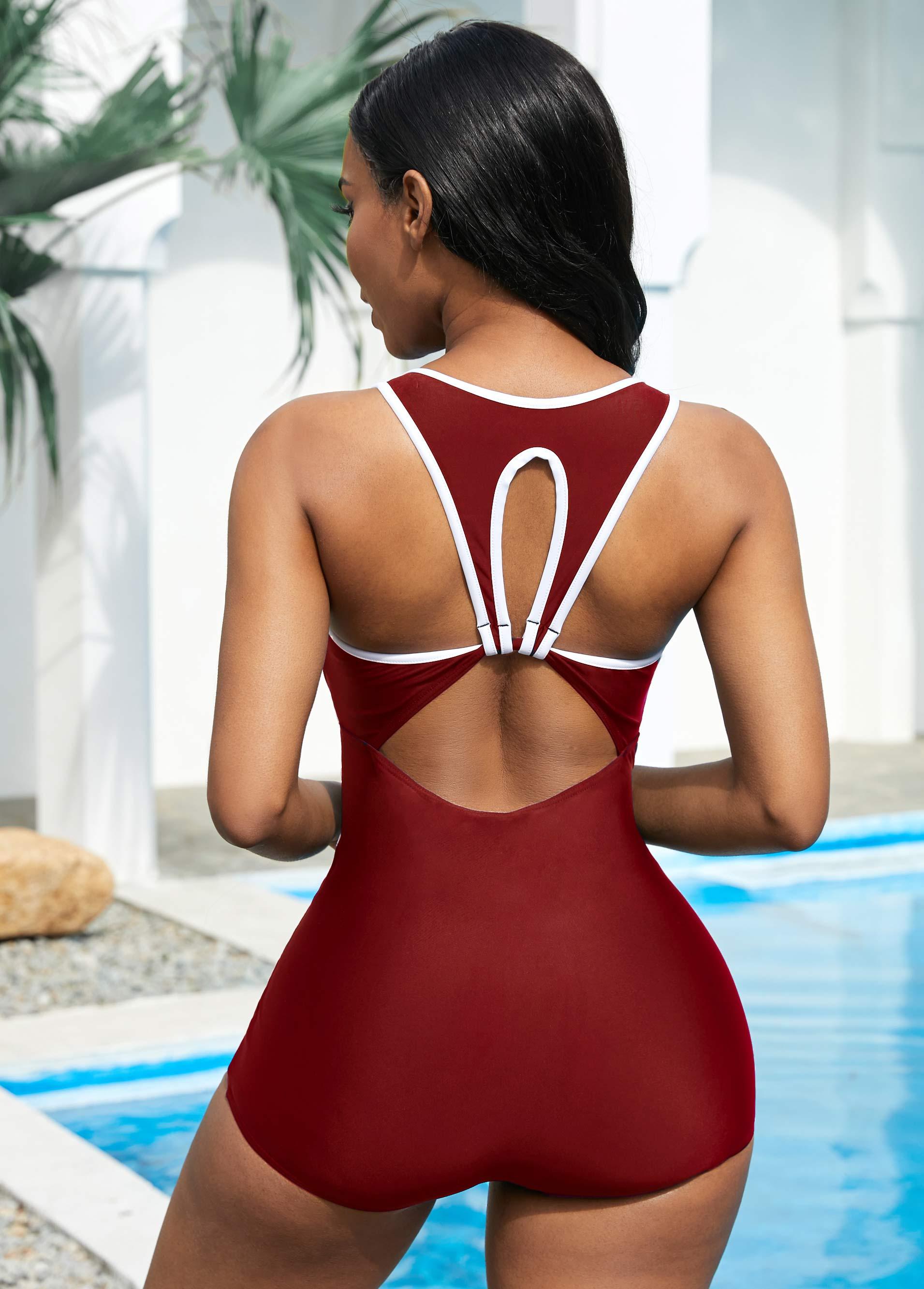 Color Block Stitch Cutout Back One Piece Swimwear