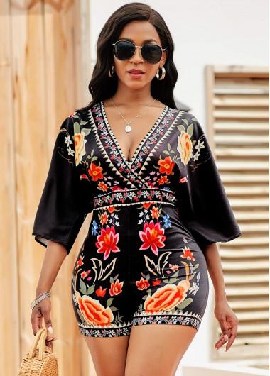 Rosewe Women Black Tie Back Floral Printed V Neck Three Quarter Sleeve Romper Skinny Summer Casual Romper - L