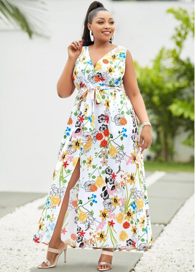 Side Slit Plus Size Floral Print Dress