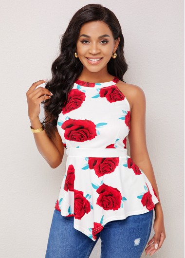 Sleeveless Asymmetric Hem Floral Print T Shirt