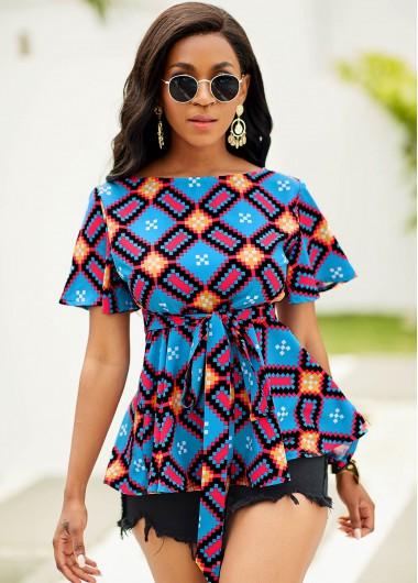 Short Sleeve Belted Color Block Blouse