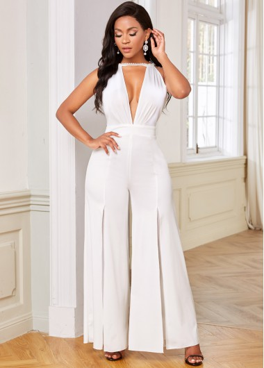 Rosewe coupon: Rosewe Halter Cutout Front Open Back Jumpsuit - M