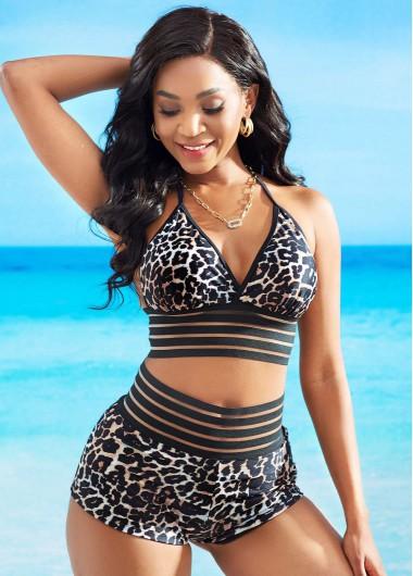 High Waist Leopard Halter Bikini Set