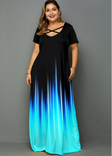 Plus Size Ombre Printed Cross Strap Dress