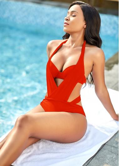 Rosewe Halter Neck Red Pierced One Piece Swimwear - XL