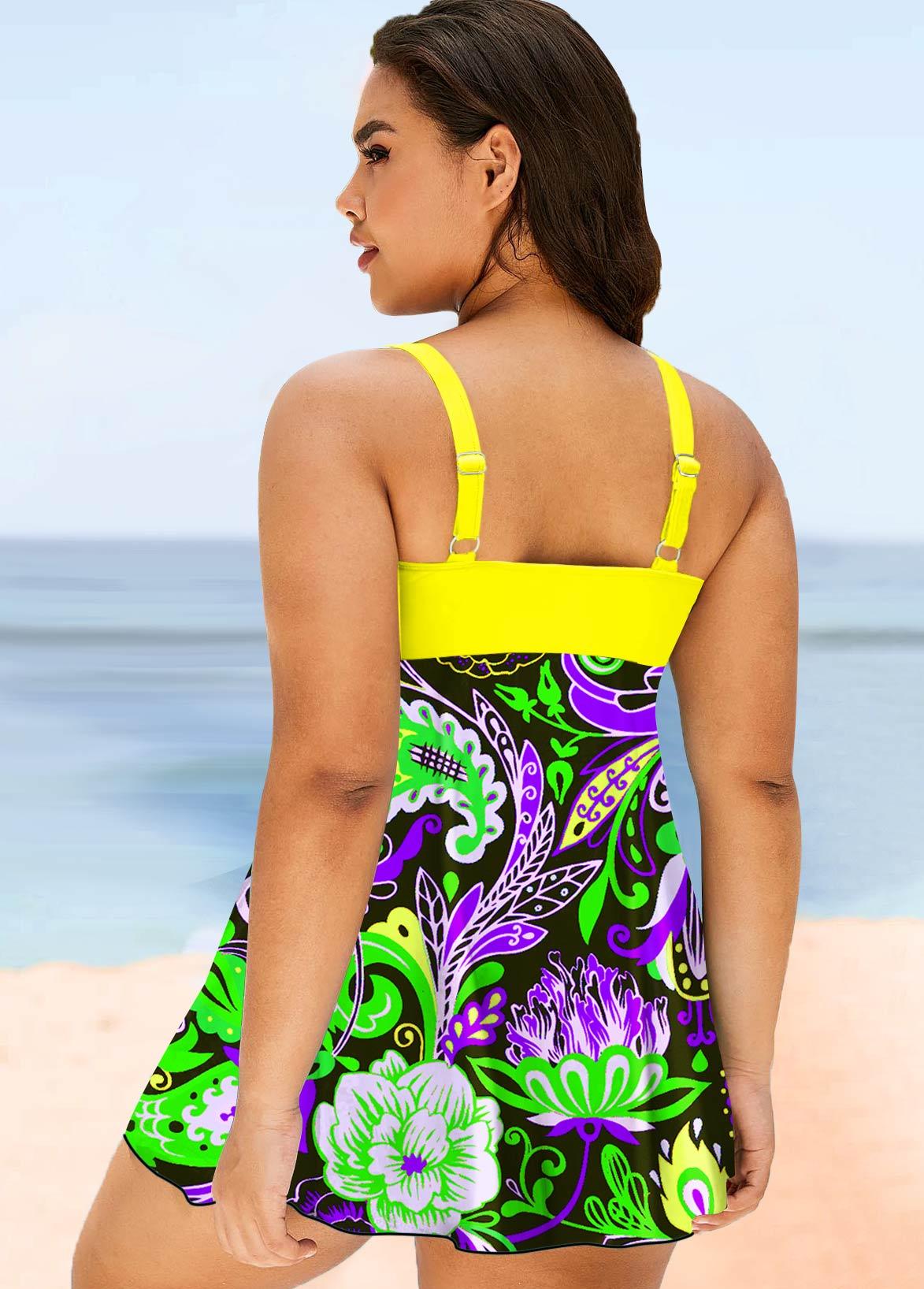 Printed Plus Size Bowknot Swimwear Top