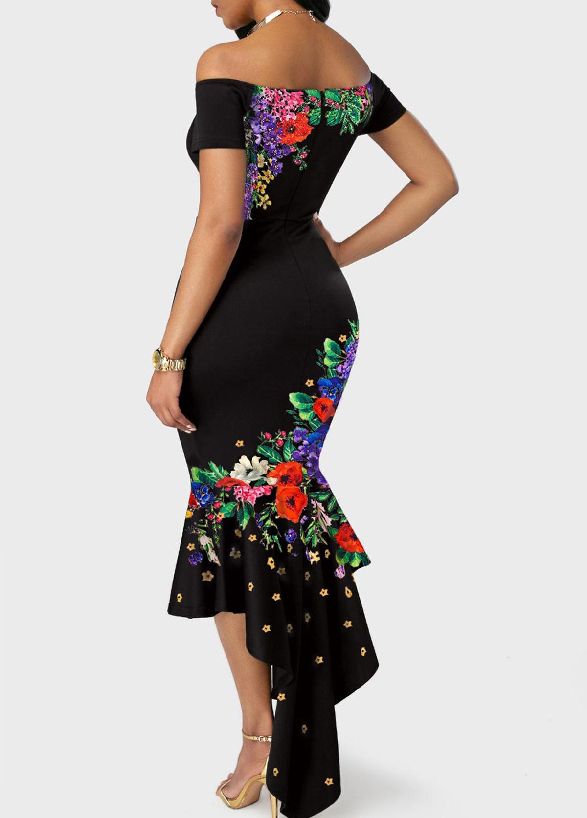 Floral Print Off the Shoulder Black Mermaid Dress