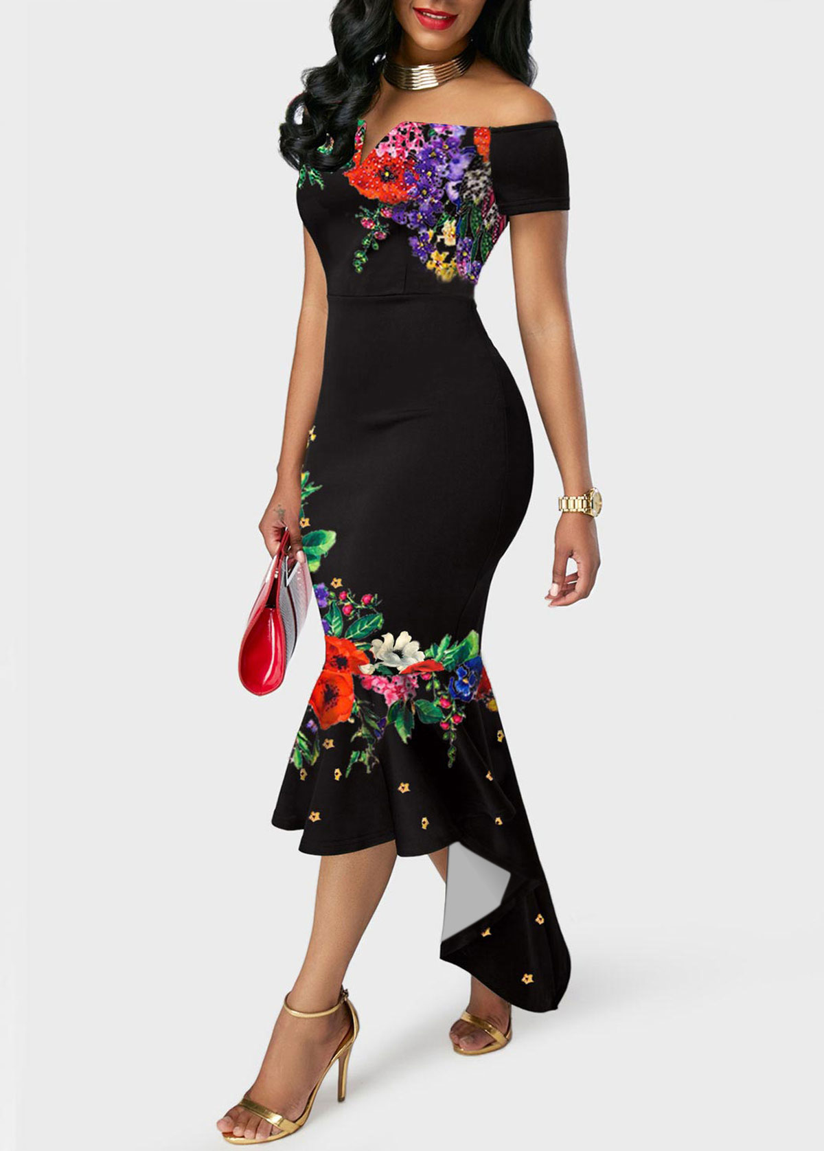 Floral Print Off the Shoulder Black Mermaid Dress