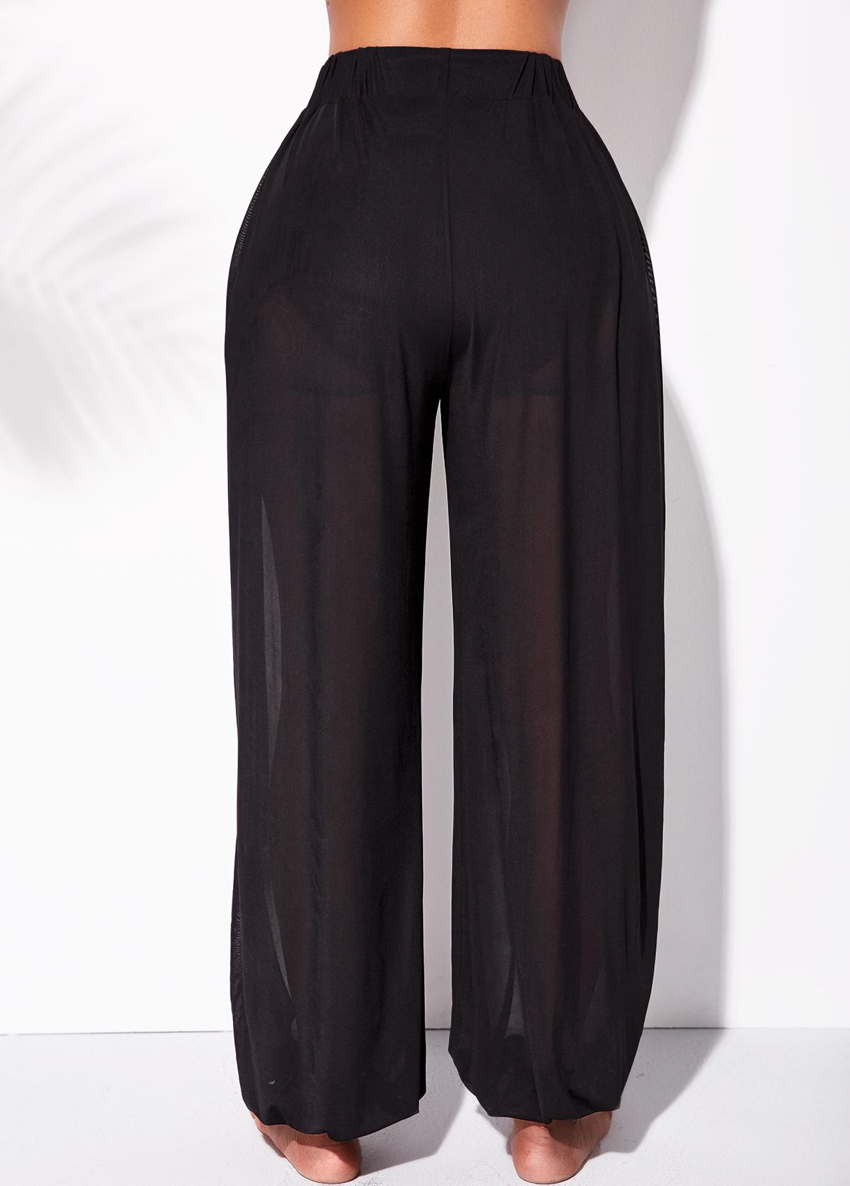 Mesh High Waisted Cutout Leg Beach Pants