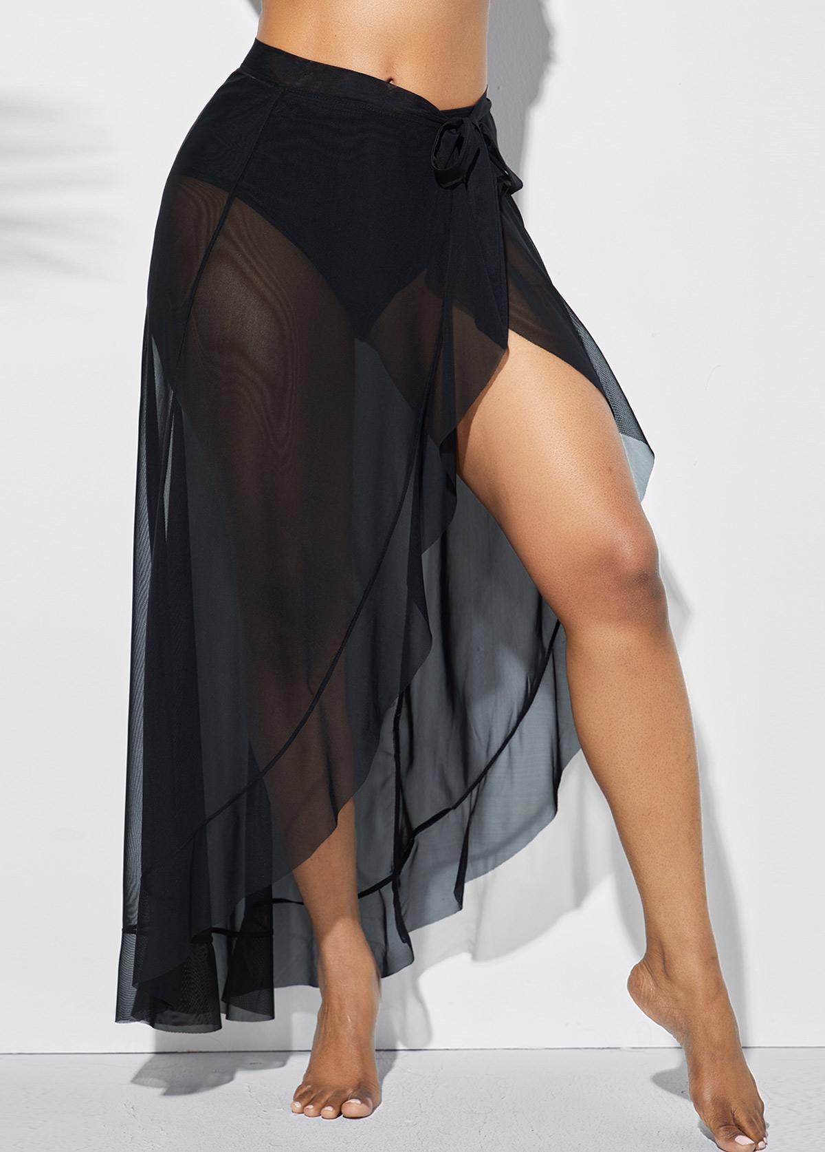 Black Side Slit Asymmetric Hem One Piece Beach Skirt