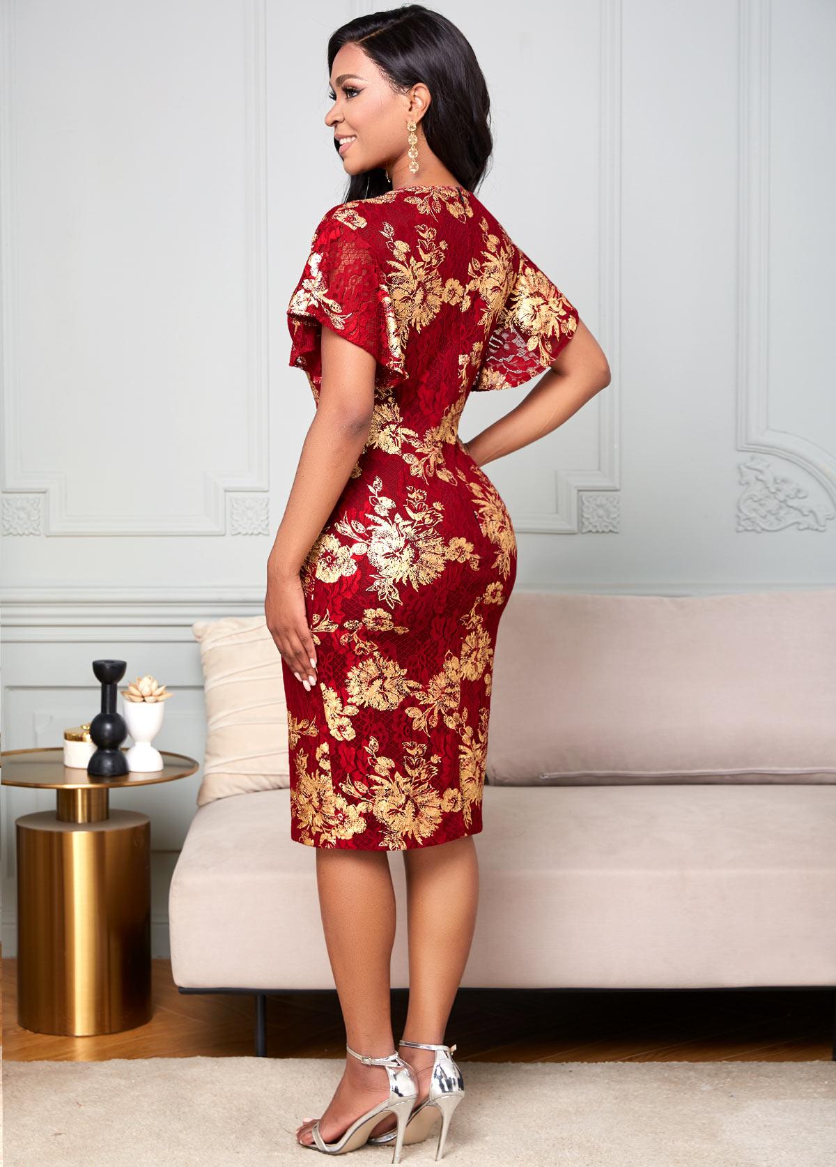 Mesh Stitching Round Neck Embroidered Lace Dress
