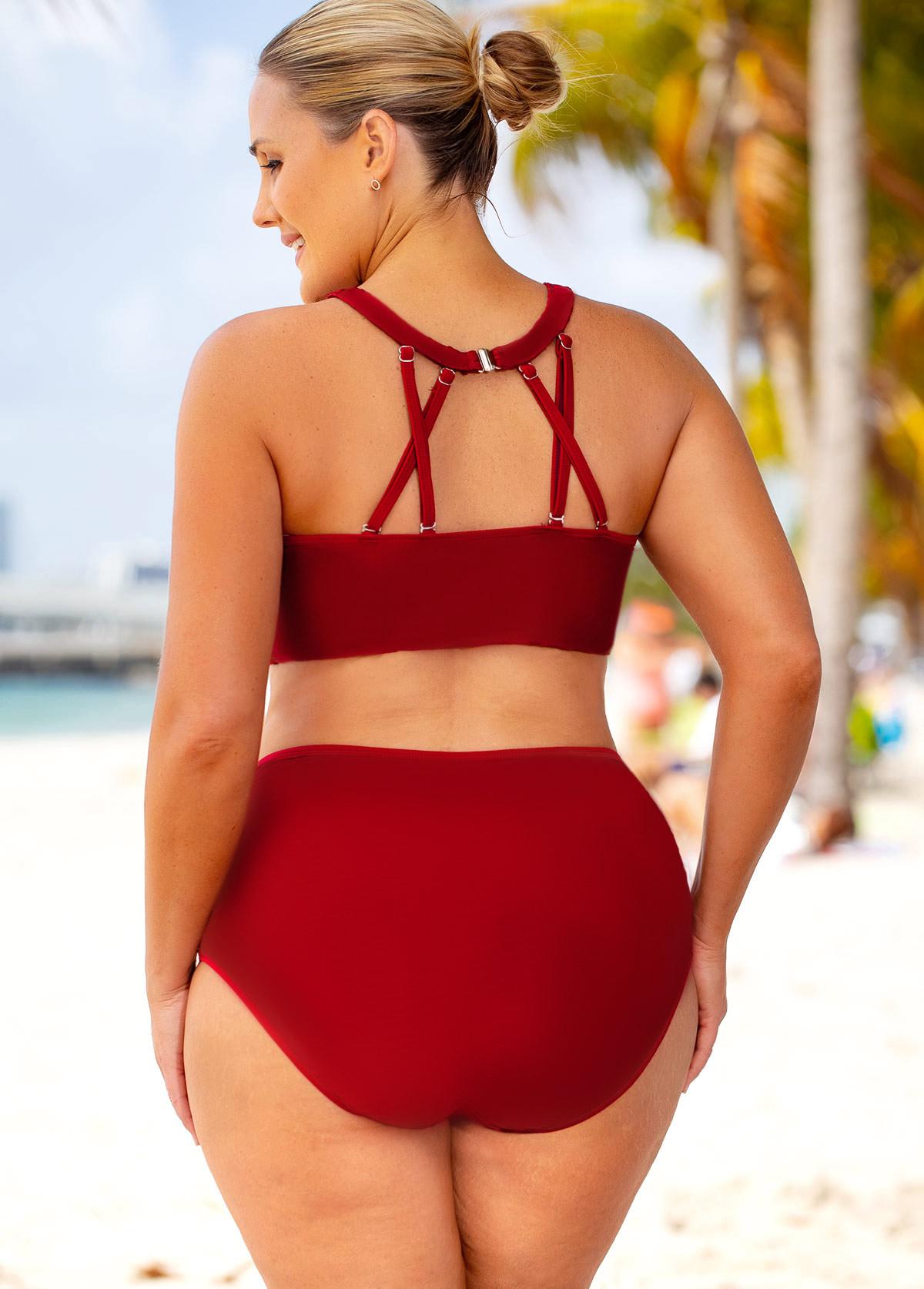 Lace Stitching High Waisted Plus Size Bikini Set