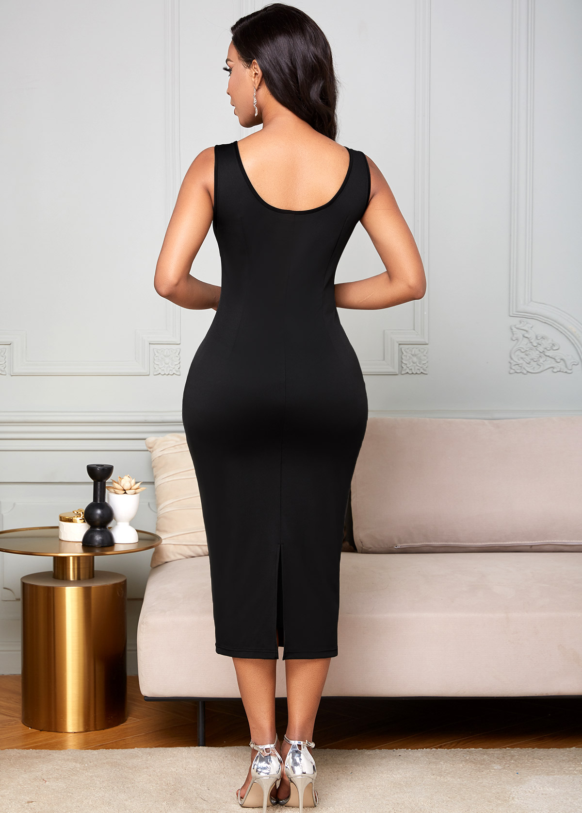 Slit Back Round Neck Wide Strap Dress