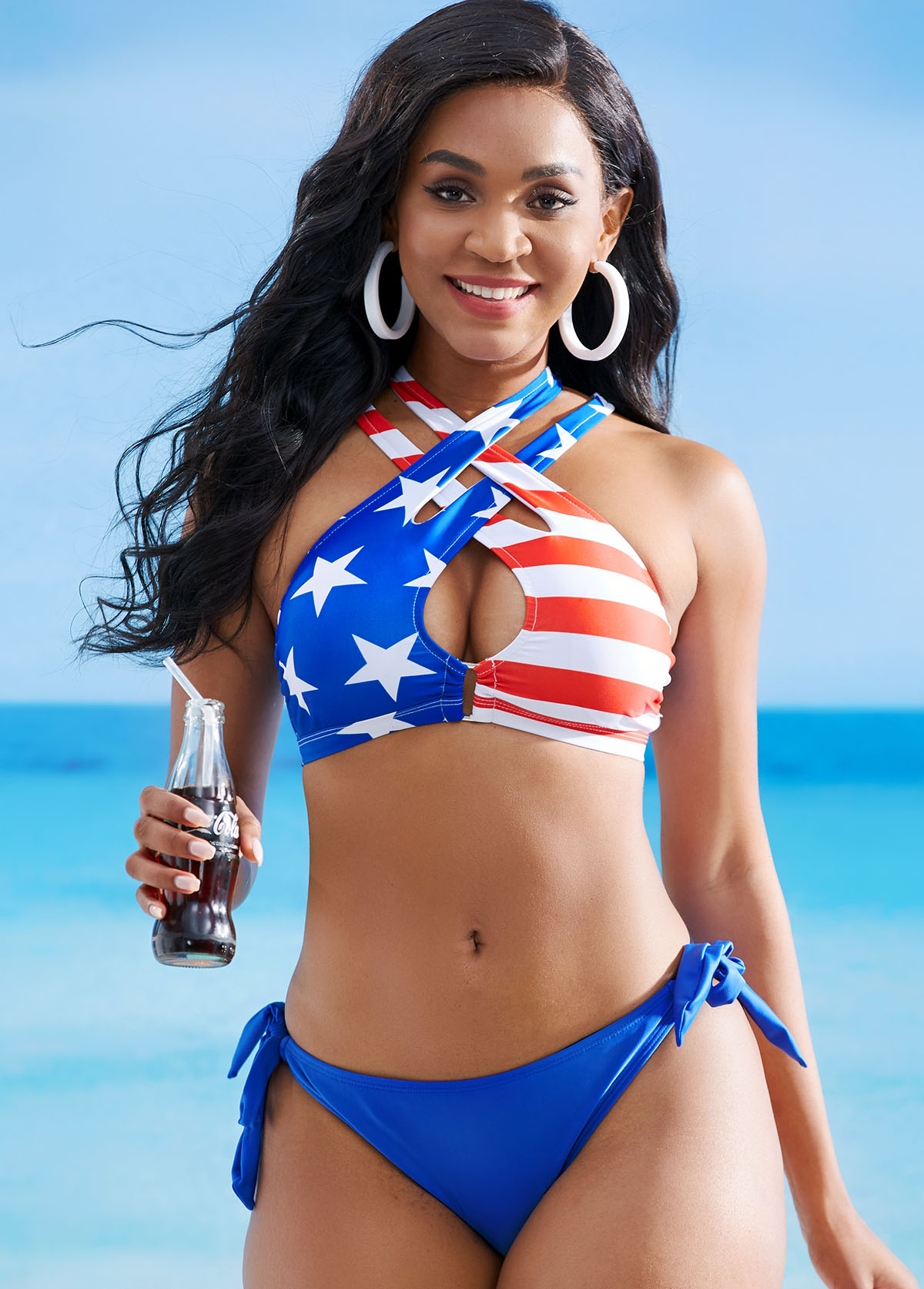 American Flag Print Cross Strap Low Waist Bikini Set
