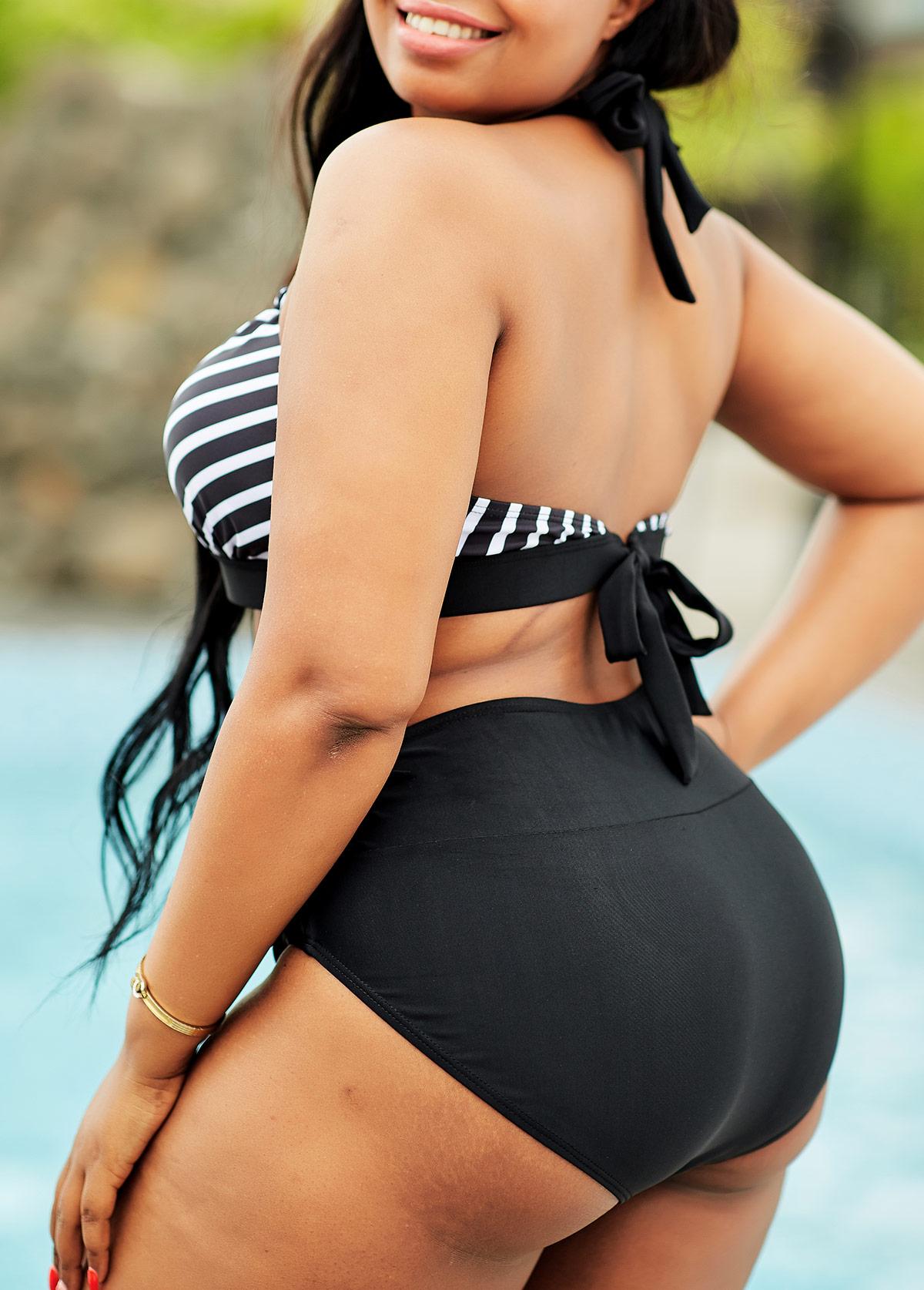 Striped High Waisted Plus Size Bikini Set