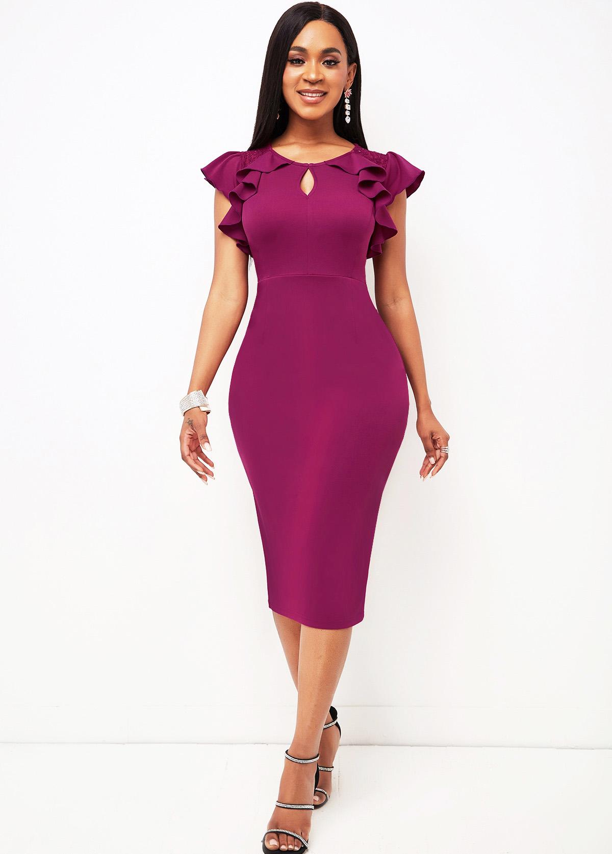 Ruffle Sleeve Lace Stitching Keyhole Neckline Dress