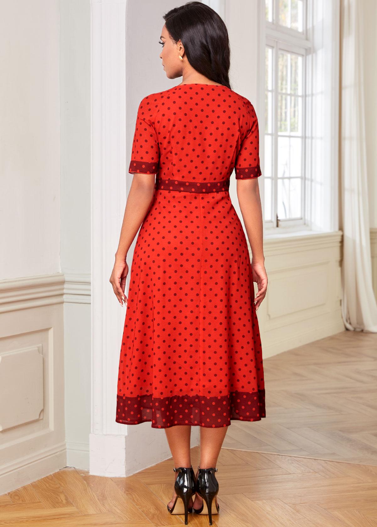 Bowknot Polka Dot Short Sleeve Dress