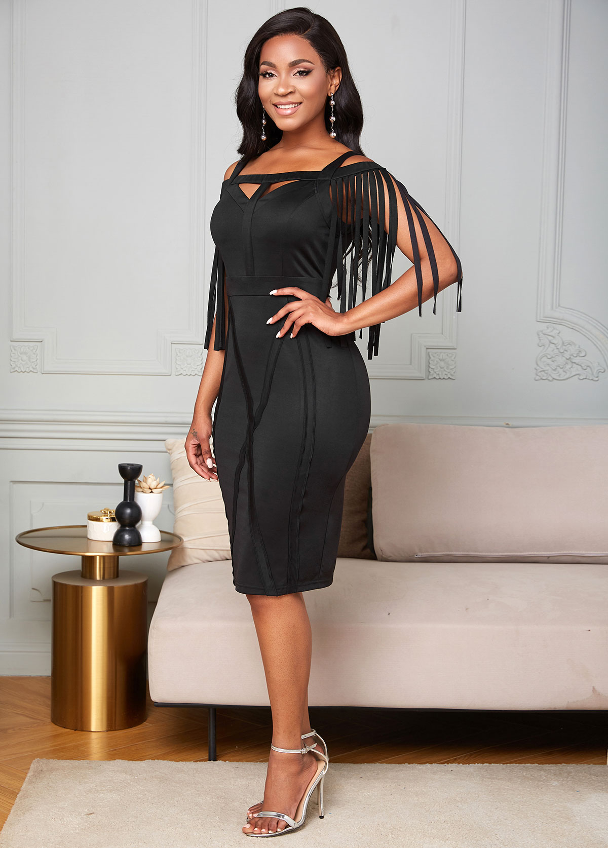 Keyhole Neckline Cold Shoulder Tassel Dress